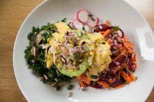 vegan salad with cashew cheese